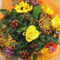 Autumn Flowers Tied For Vase - Flower Delivery Stanmore